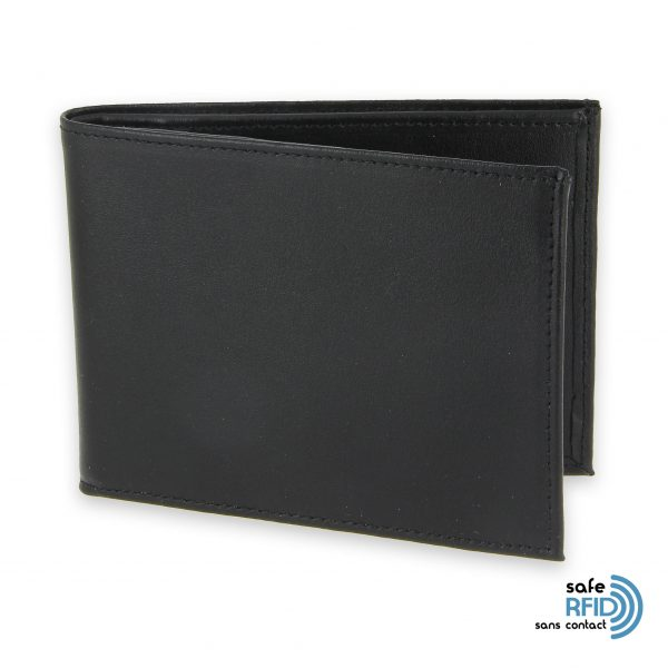 portefeuille cuir noir avec 6 cartes 1 protection carte sans contact rfid