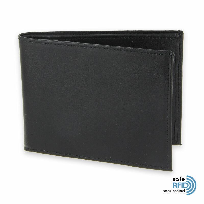 portefeuille cuir noir avec 6 cartes 1 protection carte sans contact rfid