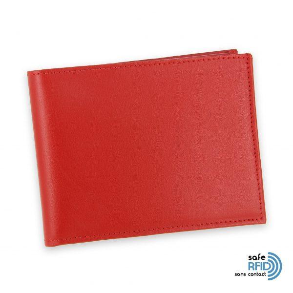 portefeuille cuir rouge avec 6 cartes 1 protection carte sans contact rfid