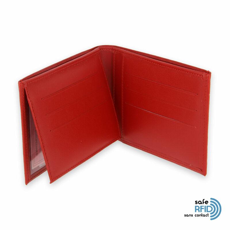 portefeuille cuir rouge avec 6 cartes 4 protection carte sans contact rfid