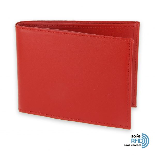 portefeuille cuir rouge avec 6 cartes 2 protection carte sans contact rfid