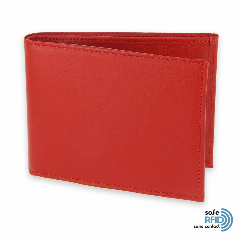 portefeuille cuir rouge avec 6 cartes 2 protection carte sans contact rfid