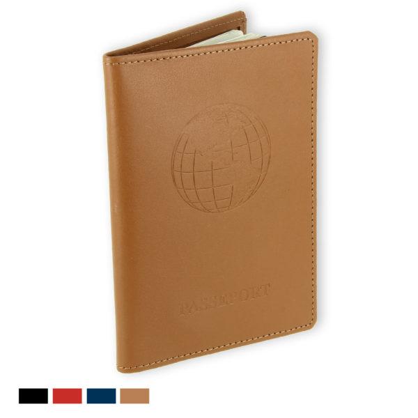 porte passeport cuir bleu beige