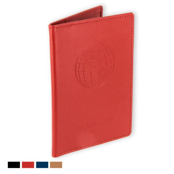 porte passeport cuir bleu rouge