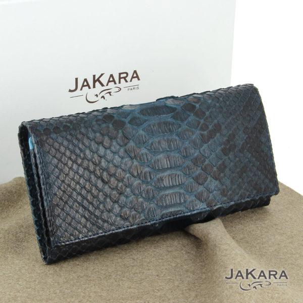 pochette python femme bleu cuir 6