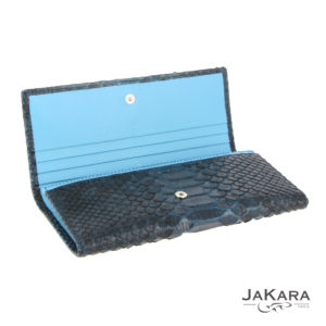 pochette python femme bleu cuir 1
