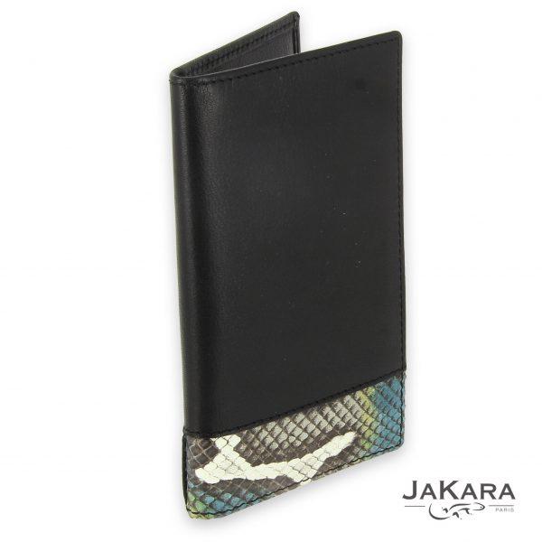 porte carte cuir noir 6 cartes incrustation lezard couleur 2