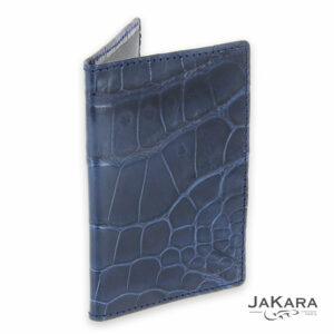 porte carte 2 cartes croco cuir crocodile bleu 1