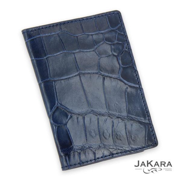 porte carte 2 cartes croco cuir crocodile bleu 3