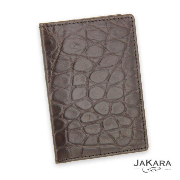 porte carte 2 cartes croco cuir crocodile marron 3