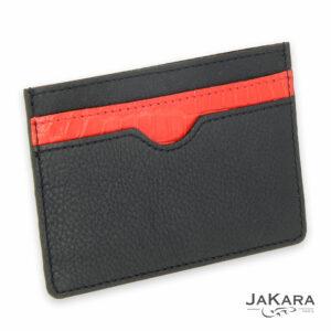 porte carte 2 cartes croco rouge cuir noir 2