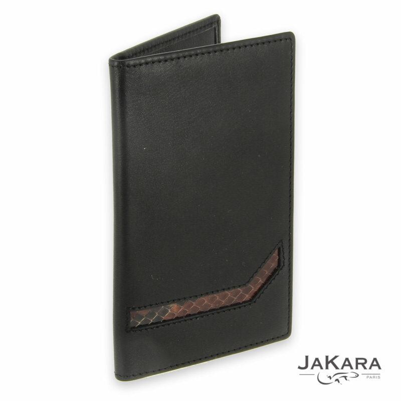 porte carte cuir noir 6 cartes incrustation lezard marron 1