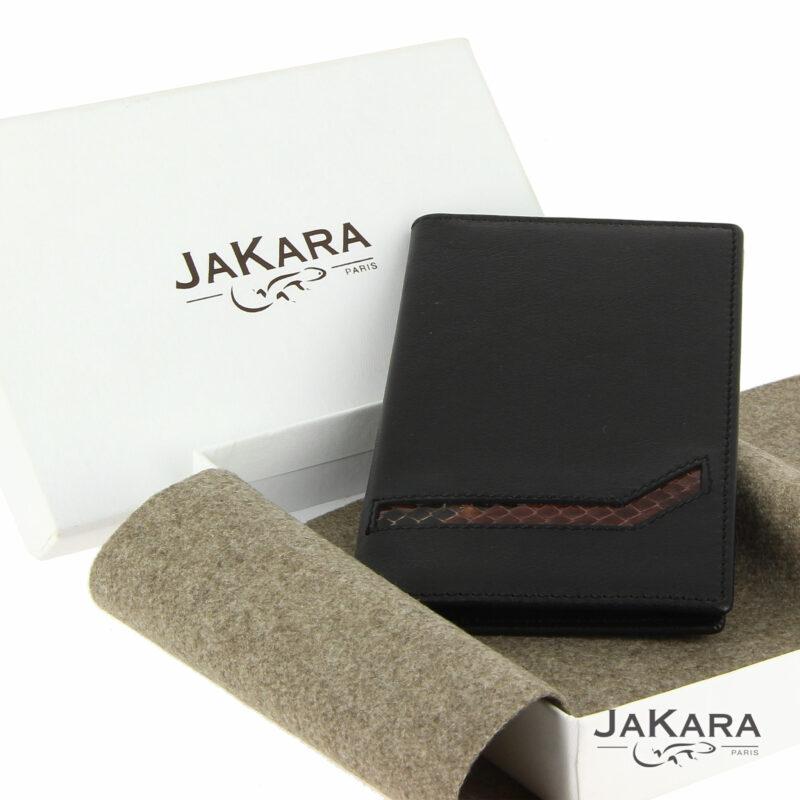 porte carte cuir noir 6 cartes incrustation lezard marron 13