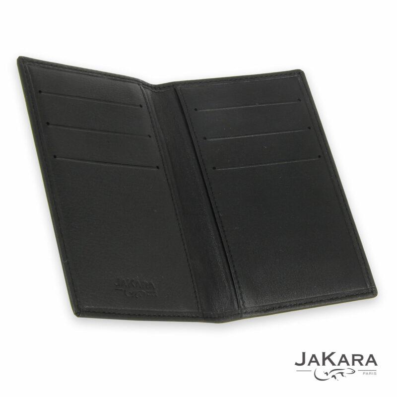 interieur porte carte cuir noir 6 cartes incrustation lezard marron 1