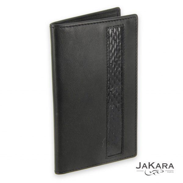 porte carte cuir noir 6 cartes incrustation lezard noir 1