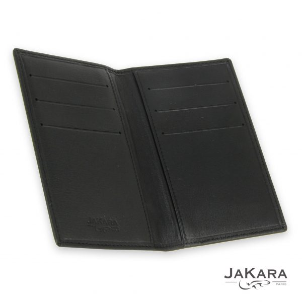 porte carte cuir noir 6 cartes incrustation lezard noir 3