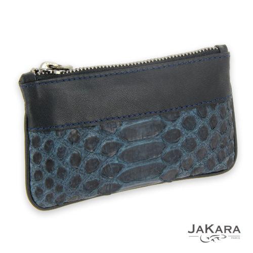 porte monnaie python bleu marine cuir noir 1